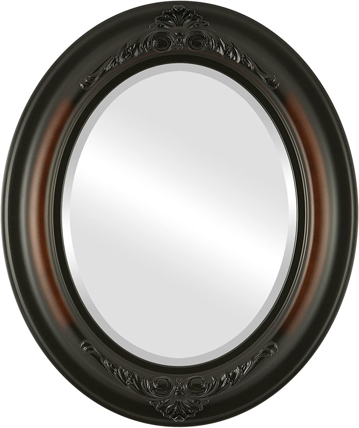 OvalAndRoundMirrors  Oval Beveled Mirror in a Winchester style Walnut frame with 17x21 outside dimensions