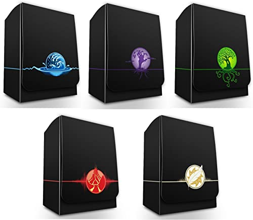 max-pro All 5 onic Elemental Symbol Deck Boxes (Box Fits MTG Mana Force of Will Pokemon Cards)