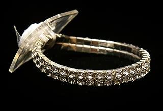 Flower Bracelet -Rhinestone Corsage Bracelet One Size - Sophisticated Lady