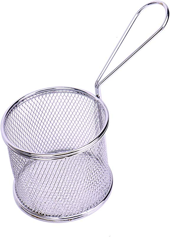 JETEHO 3 4 Inches Diameter Stainless Steel Mini Round Fry Basket Cooking Tool French Fries Basket