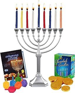 Zion Judaica Hanukkah Value Kit - Full Size Solid Menorah 44 Colored Candles Complete Hanukkah Guide Booklet 6 Colored Dreidels Sack of Milk Belgian Hanukkah Coins Gelt - All Essentials in 1 Box