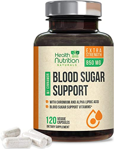 2021 Blood Sugar Support Supplement Extra Strength 850mg 20 sale Herbs & Vitamin discount Blend with Cinnamon, Chromium and Alpha Lipoic Acid - Made in USA - Best Vegan Multivitamin Blend - 120 Capsules online sale
