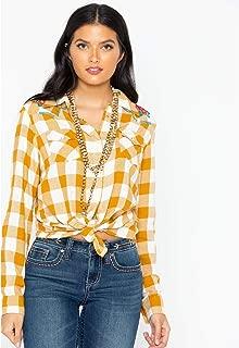 Wrangler Women's Retro Plaid Embroidered Long Sleeve Western Shirt