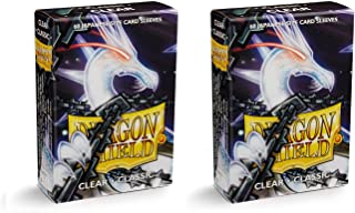 Dragon Shield Bundle: 2 Packs of 60 Count Japanese Size Mini Classic Card Sleeves - Clear