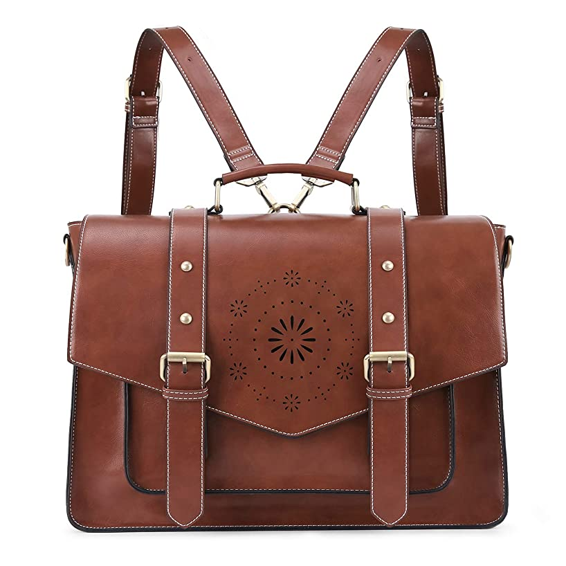 ECOSUSI Women's Briefcase Messenger Laptop Bag PU Leather Satchel Work Bags Fits 15.6 inch Laptops, Coffee