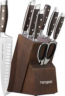 Kitchen Knife Set 8 Piece with Oak Wooden Block Sharpener and Pakkawood Handle, homgeek High Carbon 1.4116 Stainless Steel Professional Sharp Knife Block Set Chef Knife set Forged, Full-Tang Design