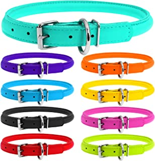 WAUDOG Rolled Leather Dog Collar for Small Dogs - Small Collar - Rolled Small Dog Collars for Boys & Girl Dog Collars for Small Dogs - Small Dog Collar Plus