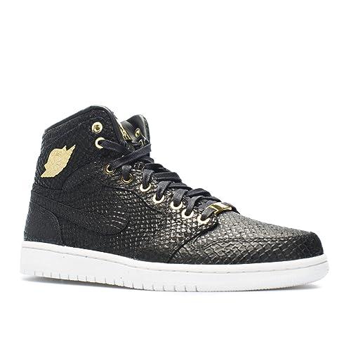e5b44055cd9c NIKE Mens Air Jordan 1 Pinnacle Black Metallic Gold-Metallic Summit White  Leather