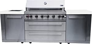"""Mont Alpi MAI805 44"""" Outdoor Barbeque Island, 47.00 x 20.00 x 93.00 inches, Stainless Steel"""