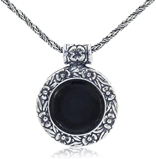 Stera Jewelry Antique Style Floral Design Round Gemstone Pendant Sterling Silver Necklace, 20 Inches