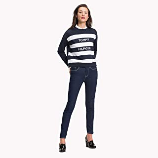 TOMMY HILFIGER Women's Regular Fit Stripe Sweatshirt, Midnight, Cl White