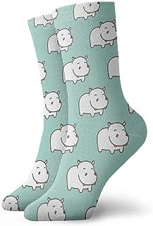 Elsaone, Niños Niñas Locos Divertidos Calcetines Blancos Hipopótamo Verde Menta Calcetines Lindos de Novedad