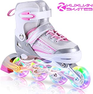 Kuxuan Inline Skates Adjustable for Kids,Girls Skates with All Wheels Light up,Fun Illuminating for Girls and Ladies (Renewed)