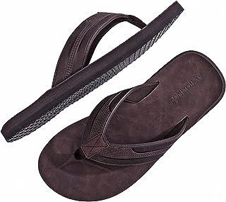 ARRIGO BELLOTongs Hommes Claquette Cuir Sandales Doux été Pantoufle Piscine Extérieur/Intérieur Taille 40-46
