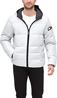 DKNY Water Resistant Ultra Loft Hooded Logo Puffer Jacket