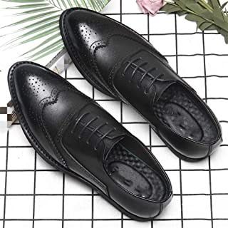 XinQuan Wang Business Oxford for Men Formal Shoes Lace Up Genuine Leather Pointed Toe Brogue Carving Wingtip Vintage Retro Breathable Lined (Color : Black, Size : 5 UK)