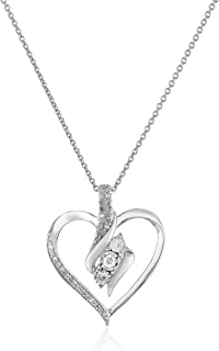 Sterling Silver Diamond 3 Stone Heart Pendant Necklace...