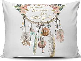 XIUBA Pillowcases Coloured Boho Dream Catcher Thank Heaven Little Girls Customizable Cushion Decorative Rectangle 12x16 inch Boudoir Size Throw Pillow Case Hidden Zipper One Side Design Printed