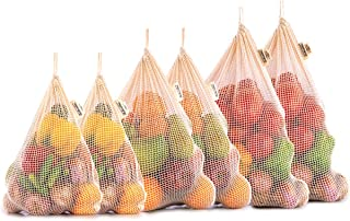 Produce Bags - Reusable Produce Bags Grocery Reusable - Mesh Produce Bags - NetZero Produce Bags - Eco-Friendly Produce Bags - Reusable Cotton Produce Bags - Set of 6 - XL, L, M)