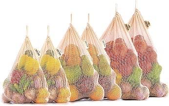 Bolsas Verdura Reutilizables - Bolsas Reutilizables Compra Algodon - Bolsas Ecologicas para la Compra - Bolsa de Red Malla - Bolsa Compra Reutilizable - Bolsa Tela Fruta - Juego de 6 (2 de M, L, XL)