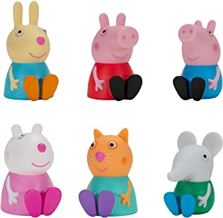 """Peppa Pig & Friends Squishies, 6 Pack, 2.5"""" Tall, Features 6 Character Toy Figures like George, Suzy Sheep, Candy Cat, Edm..."""