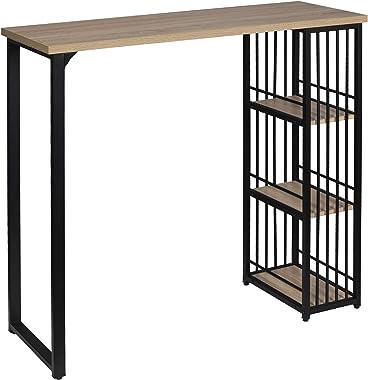 WOLTU BT26hei Table de Bar Table à Manger avec 3 tablettes,Table de bistrot en métal et MDF 120x40x105cm,Chêne Clair