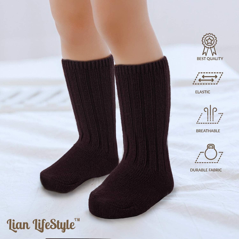 Lian LifeStyle Fascinating Childrens 4 Pairs Knee High Wool Socks Size 0Y-6Y