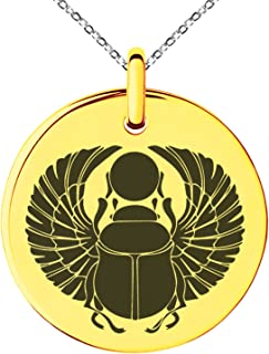 Stainless Steel Scarab Beetle Rising Sun Symbol Small Medallion Circle Charm Pendant Necklace