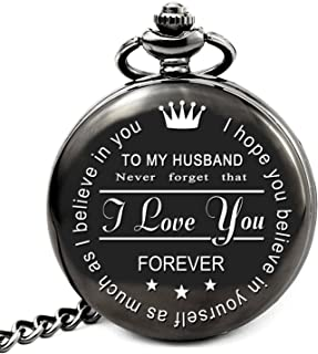 LEVONTA Husband Gifts from Wife for Husband Engraved Pocket Watch with Chain (to My Husband)