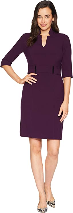 3/4 Sleeve Bi-Stretch Sheath with Star Neckline and Detail On Waist