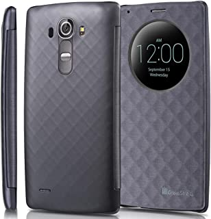 GreatShield LG G4 Quick Circle Case, Shift LX Slim Leather Flip Case View Window Cover with Sleep/Wake Function for LG Optimus G4 (Metallic Gray)