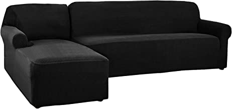 CHUN YI 2 Pieces L-Shaped Jacquard Polyester Stretch Fabric Sectional Sofa Slipcovers (Left Chaise(2 Seats), Black)