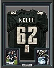 Framed Autographed/Signed Jason Kelce 33x42 Philadelphia Eagles Green Football Jersey JSA COA