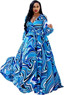 Womens Stylish Chiffon V-Neck Printed Floral Maxi Dress with Waisted Belt Plus Size (FBA)