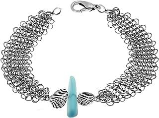 Asymmetrical Aqua Sea Glass and Mesh Bracelet