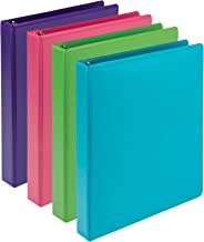 Samsill Earth's Choice Biobased Durable 3 Ring Binders, Fashion Clear View 1 Inch Binders, Up to 25% Plant Based Plastic, Assorted 4 Pack