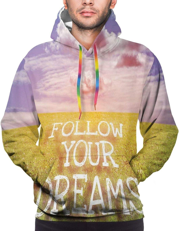 TENJONE Men's Hoodies Sweatshirts,Follow Your Dream Text Ship Sailing Across The Sea Towards Lighthouse