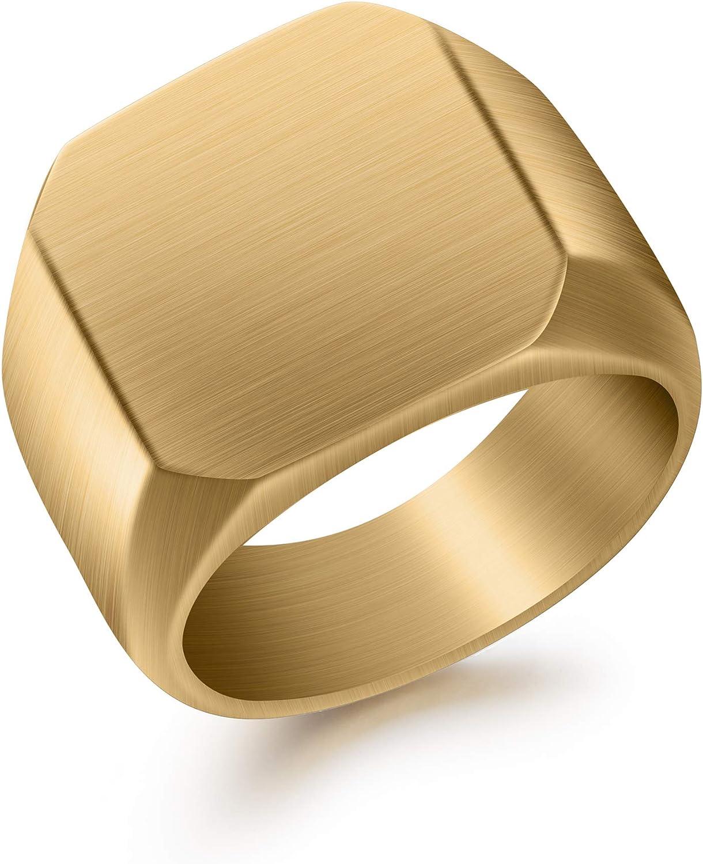 BUREI Fashion Rings for Men, Wedding Gold Tungsten Ring Matte Finish Beveled Polished Edge Comfort