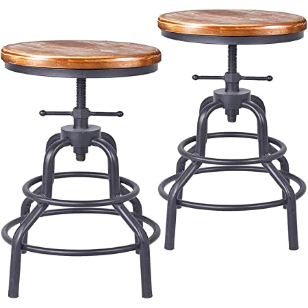 Diwhy Industrial Vintage Bar Stool,Kitchen Counter Height Adjustable Screw Stool ,Swivel Bar Stool,Metal Wood Stool,27 Inch,Fully Welded Set of 2 (Wooden Top)