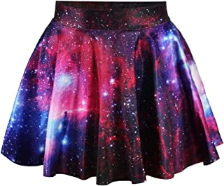 LaSuiveur Women's Digital Print Stretchy Flared A Line Pleated Skater Skirt