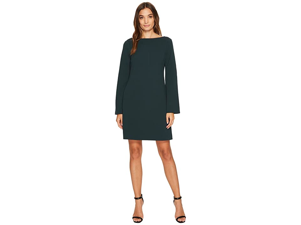 Donna Morgan Roxie Boat Neck Shift Dress with Split Sleeve (Viridian Green) Women