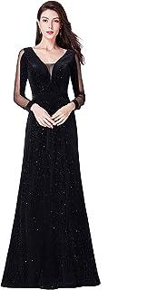 Vestidos de Fiesta Terciopelo Manga Larga Cuello en V Escote Corte Imperio para Mujer 07394