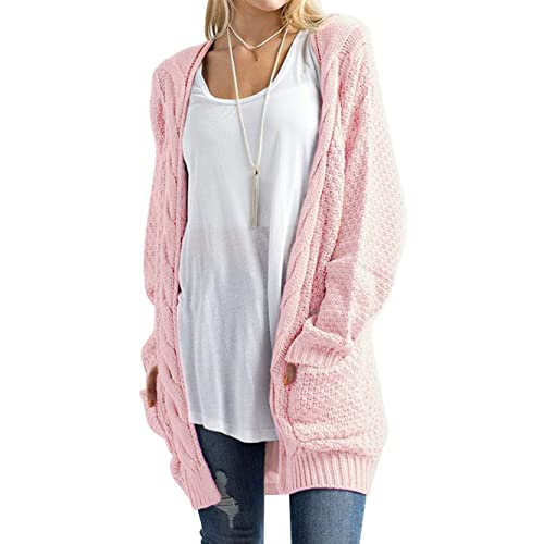 023c98f45e DYLH Women s Classic Open Front Long Sleeve Loose Knit Warm Cardigan Sweater  with Pockets
