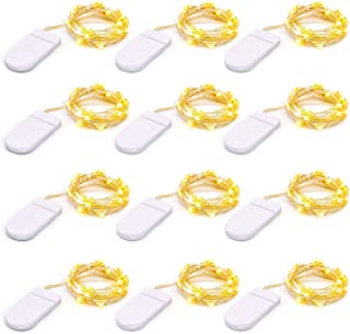 12 PACK Micro LED Fairy Lights Battery Powered, 20 LEDs Small Fairy Lights Copper Wire String Lights for DIY Bedroom Weddi...