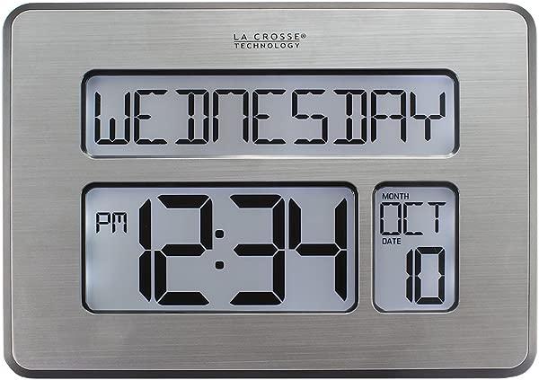 La Crosse Technology Atomic Brushed Metal Digital Day Date Temperature Desk Or Wall Alarm Clock