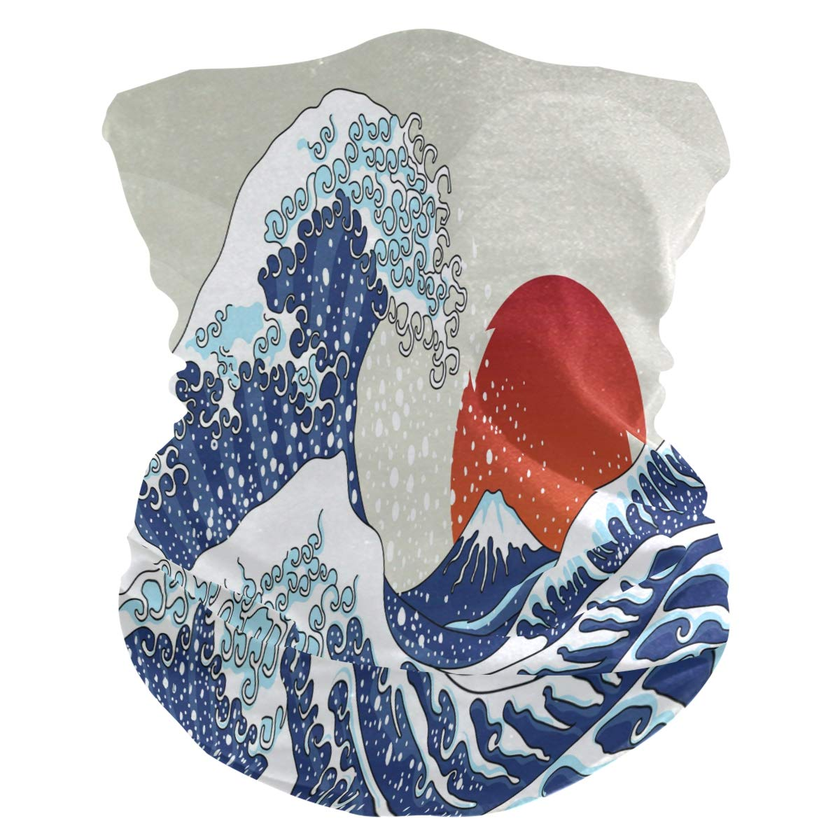 MAHU Headband Japanese Ocean Sunset Pattern Face UV Sun Protection Mask Neck Gaiter Magic Scarf Bandana Headwear Balaclava for Women Men