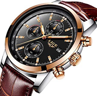 Watches Mens,Analog Quazrt Waterproof Watch Leather Sport Wrist Watch Man Luxury Brand LIGE Business Dress Rose Gold Black Clock