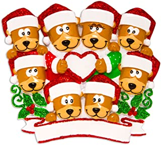Personalized Brown Bear Family of 8 Christmas Tree Ornament 2019 - Hug Parent Kid Friend Hold Glitter Heart Santa Hat Holiday Fun Tradition Grand-Children Gift Year - Free Customization (Eight)