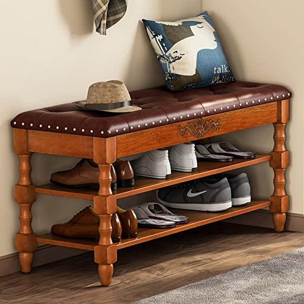 Tribesigns Shoe Bench Solid Wood Storage Bench Entryway With Lift Top 2 Tier Vintage Style Shoe Rack With Tufted Leather Accents Walnut