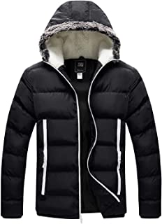 Men's Winter Thickened Puffer Jacket Hooded Cotton Quilted Coat Outerwear